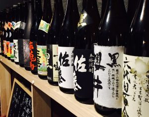 There's a decent selection of honkaku shochu to pair with the skewers prepped by Mr. Sato.